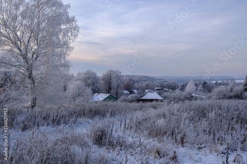 beautiful winter landscape evening in a small village