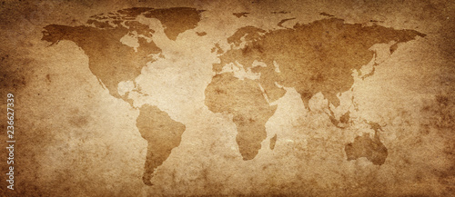 Old map of the world on a old parchment background. Vintage style. Elements of this Image Furnished by NASA. © Tryfonov