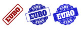 EURO grunge stamp seals in red and blue colors. Vector EURO watermarks with grunge texture. Graphic elements are rounded rectangles, rosettes, circles and text labels. - 236627545