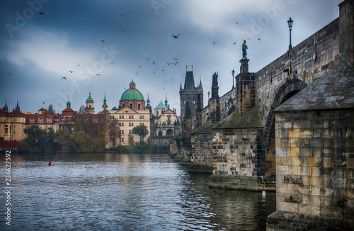 It's evening in the city of Prague. View of the Charles bridge. Czech Republic.