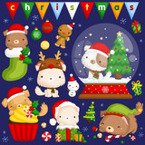 A vector set of cute little puppy in various poses and costume for christmas celebration