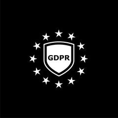 General Data Protection Regulation (GDPR) icon or logo on dark background