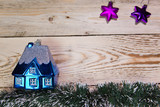 Dark blue New Year's toy small house