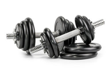 Dumbbells isolated on a white background © azure
