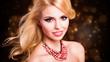 Leinwanddruck Bild - attraktive junge sinnliche Frau vor Silvesterhintergrund