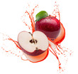red apples in juice splash isolated on a white background