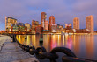 Boston Financial District and waterfront before Sunrise, Boston, Massachusetts