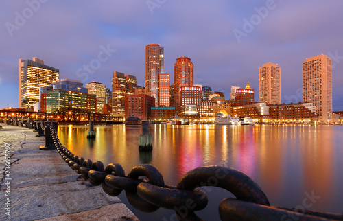 Fototapeta Boston Financial District and waterfront before Sunrise, Boston, Massachusetts