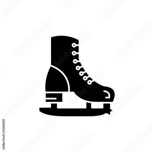 Skates black icon, concept vector sign on isolated background. Skates illustration, symbol