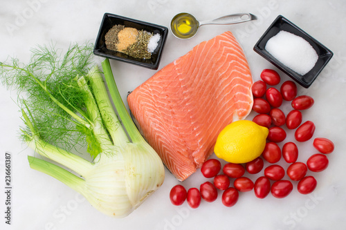 Salmon Fillet and Vegetables - 236661387