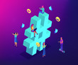 Business people at huge hashtag send and share posts and social media. Social listening tools, engaging content, hashtag tracking concept. Ultraviolet neon vector isometric 3D illustration. - 236665964