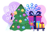 Happy business people decorating Christmas tree and preparing gift boxes. Winter holidays, New year celebration, Christmas activities plan concept. Bright vibrant violet vector isolated illustration