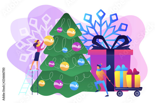 Happy business people decorating Christmas tree and preparing gift boxes. Winter holidays, New year celebration, Christmas activities plan concept. Bright vibrant violet vector isolated illustration - 236666780