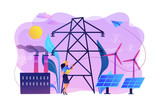 Engineer choosing power station with solar panels and wind turbines. Alternative energy, green energy technologies, eco-friendly energetics concept. Bright vibrant violet vector isolated illustration - 236666992