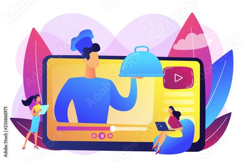 Professional chef holding dish on video and users watching food blog with recipes. Food blogging, food hunter review, foodie blog concept. Bright vibrant violet vector isolated illustration