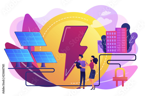 Businessmen use solar energy panels to produce electricity for the city. Solar energy, solar power plant, alternative source of electricity concept. Bright vibrant violet vector isolated illustration - 236667161