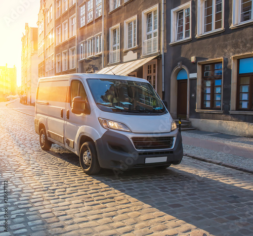 minivan in the ancient center of the European city