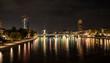 Night in Frankfurt on the river Main.