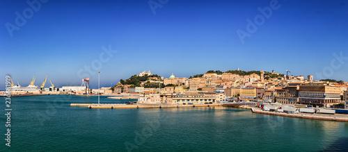 Leinwandbild Motiv Panoramic view of the port of Ancona in the Marche region, Italy.