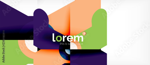 Geometric colorful shapes composition abstract background. Minimal dynamic design - 236705374