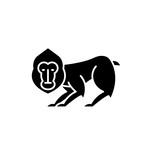 Chimpanzee black icon, concept vector sign on isolated background. Chimpanzee illustration, symbol