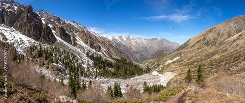 Scenic landscape in Ala Archa national park in Tian Shan mountain range, Kyrgyzstan - 236720527