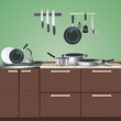 Kitchen Furniture Culinary Utensils Illustration