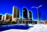 city and road scenery in the snow, computer generated images