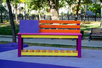 Multicolored wooden bench