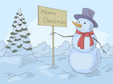 Snowman holding a greeting sign in winter park graphic color landscape sketch illustration vector - 236732922