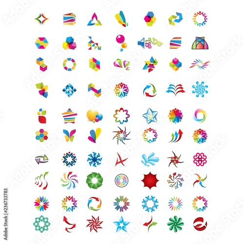 Logo collection, abstract geometric business icon set - 236733783