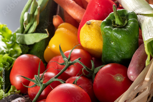 Foto Murales seasonal vegetables, tomatoes, peppers and other