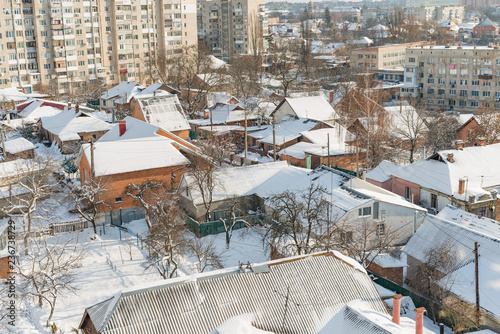 City and streets during the winter