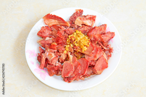 China traditional flavor dishes, garlic donkey meat
