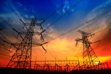 Electric tower, silhouette at sunset - 236748113