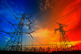 Electric tower, silhouette at sunset - 236748174