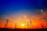 Electric tower, silhouette at sunset - 236749570