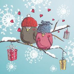 Two birds sitting on the branch with snow. Winter cartoon background. Cute birds wearing hat. Christmas card.Valentine's Day card