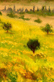Trees on a summer meadow - green landscape oil painting on canvas modern impressionism