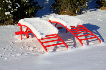 Fitness equipment in the snow