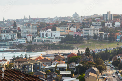 Day view of Bondi Beach, Sydney and the surrounding suburb.