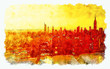 Leinwanddruck Bild - Aerial view of the East River and the Manhattan, NY skyline watercolor painting