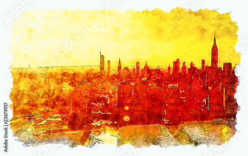 Leinwanddruck Bild Aerial view of the East River and the Manhattan, NY skyline watercolor painting