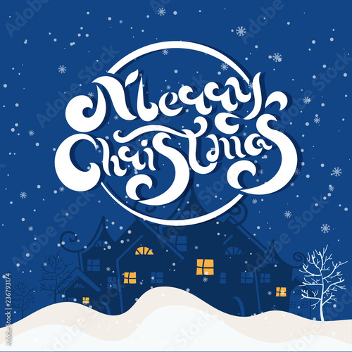 Merry Christmas and Happy New Year winter holidays greeting card with holidays objects. Vector illustration