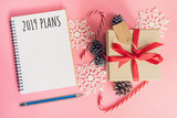 2019 New Year Plans, top view brown gift box, notebook and christmas decoration for new year on pink pastel color. - 236795947