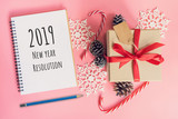 2019 New Year Resolution, top view brown gift box, notebook and christmas decoration for new year on pink pastel color. - 236795978