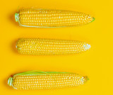 Above view at three fresh corns on yellow background - 236802753