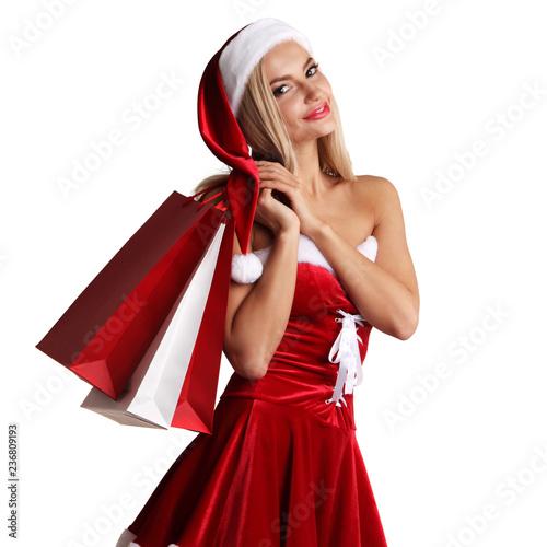Leinwanddruck Bild Girl in santa claus costume shopping