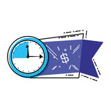 clock time with commercial tag hanging - 236809941