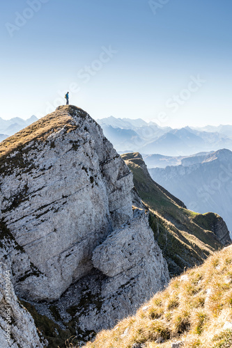 arrived at the summit, climber at the top of the Hengst, Schrattenfluh, Switzerland - 236810964